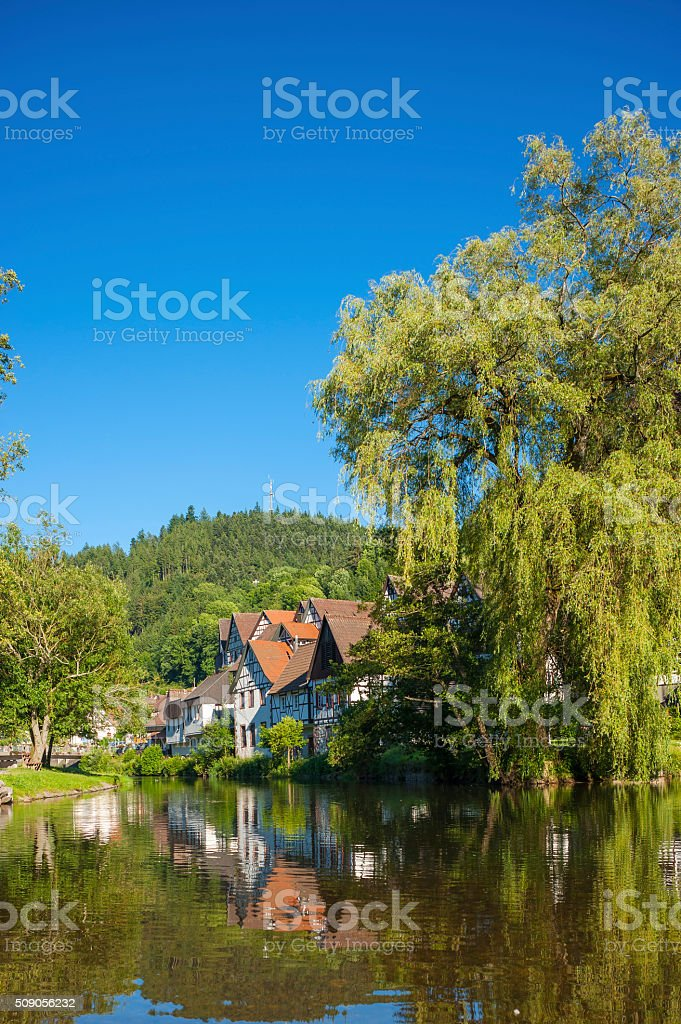 Half-timbered houses at the Kinzig river stock photo
