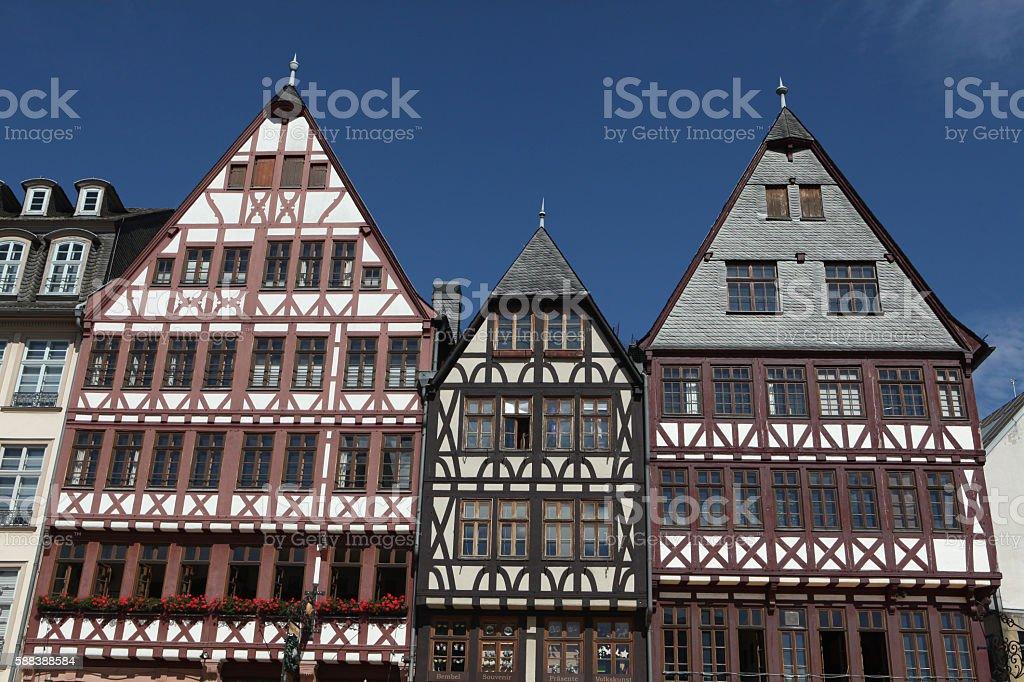 Half-timbered houses at the Romerberg in Frankfurt am Main, Germany. stock photo