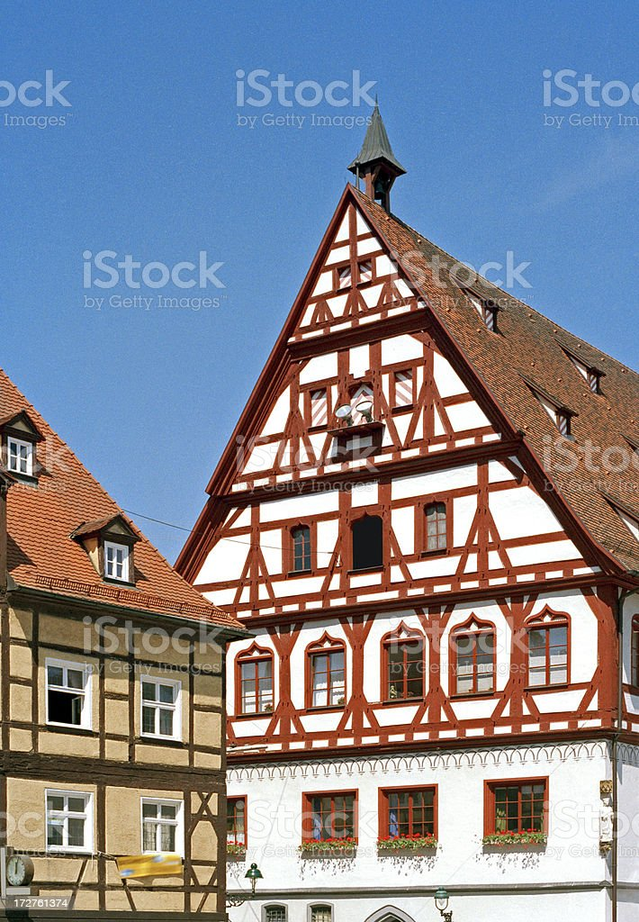 Half-Timbered Houses In Nordlingen stock photo