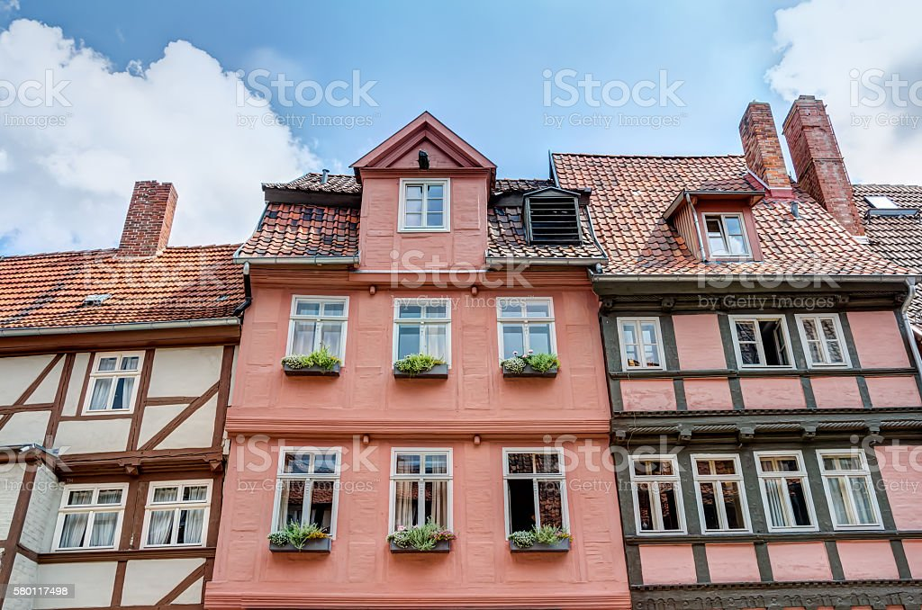 Half-timbered houses in Quedlinburg, Germany stock photo