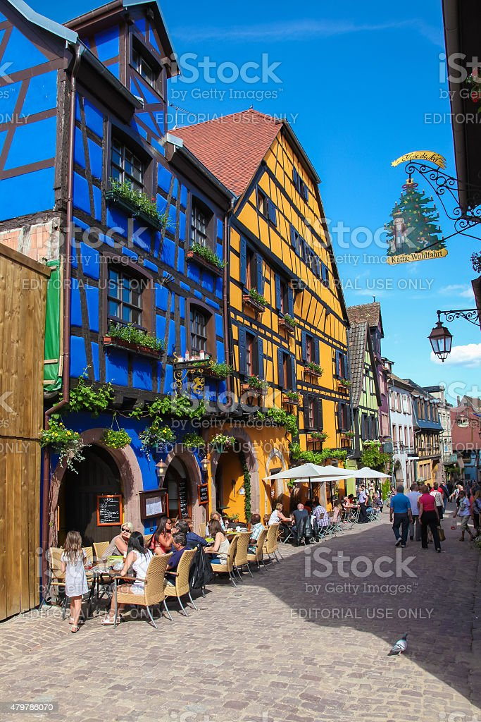 Half-timbered houses in Riquewihr, Alsace region, France stock photo