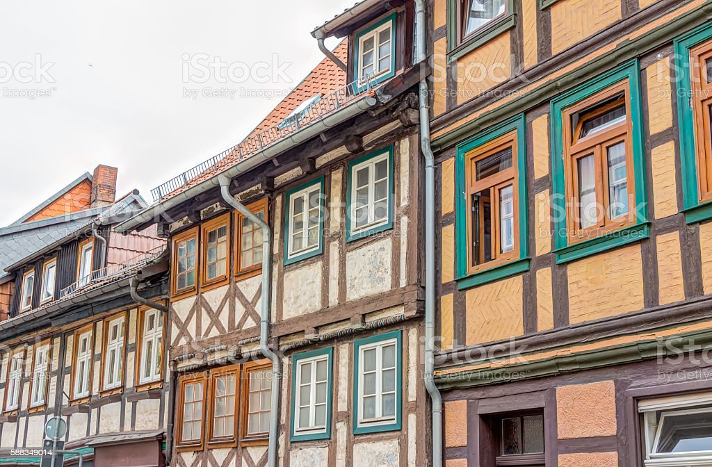 Half-timbered houses in Wernigerode, Germany stock photo