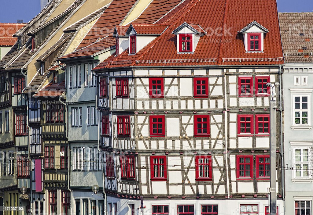 Half-timbered houses on the Erfurt Domplatz stock photo
