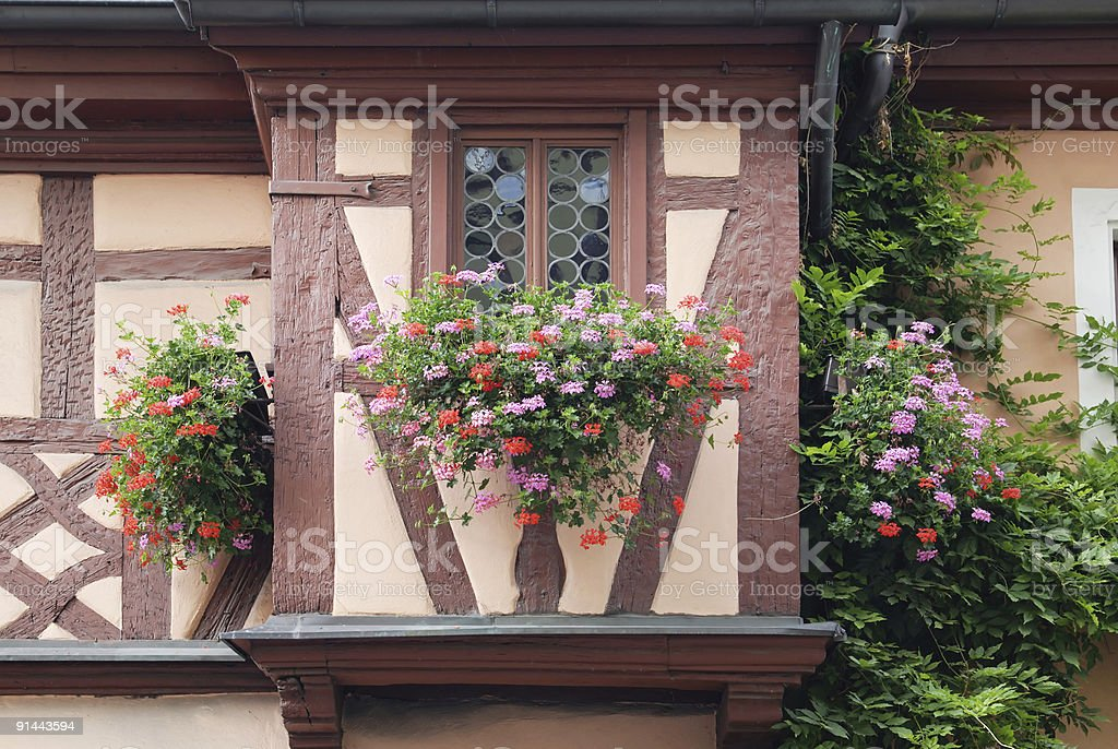 half-timbered oriel in Rothenburg stock photo
