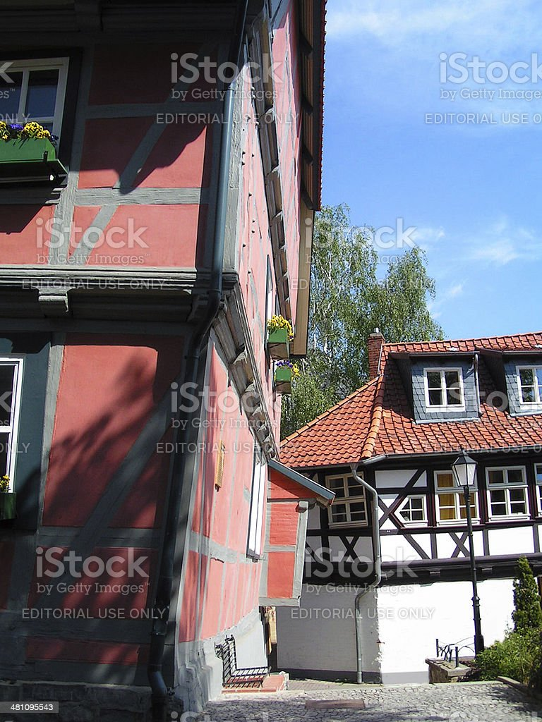 Half-Timbered sloping Houses stock photo