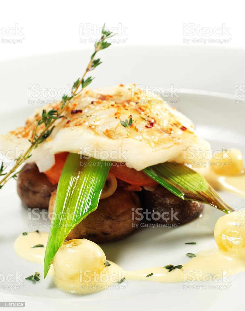 Halibut on Vegetable royalty-free stock photo