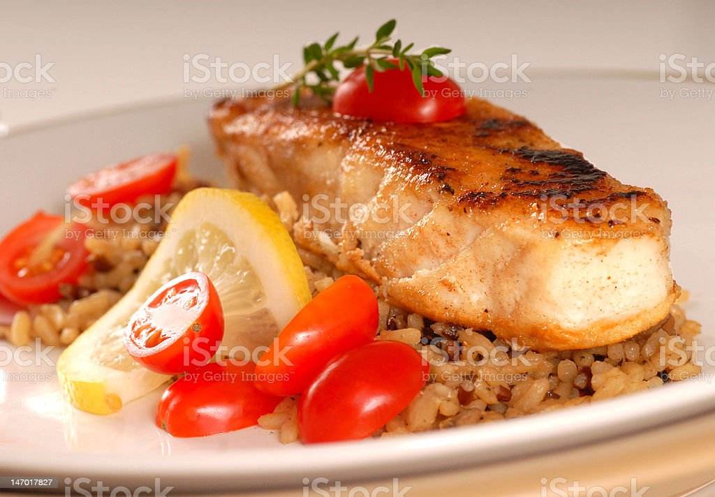 Halibut seared on a bed of brown rice royalty-free stock photo