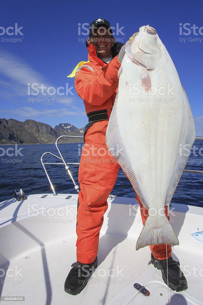 Halibut Sports Fishing royalty-free stock photo