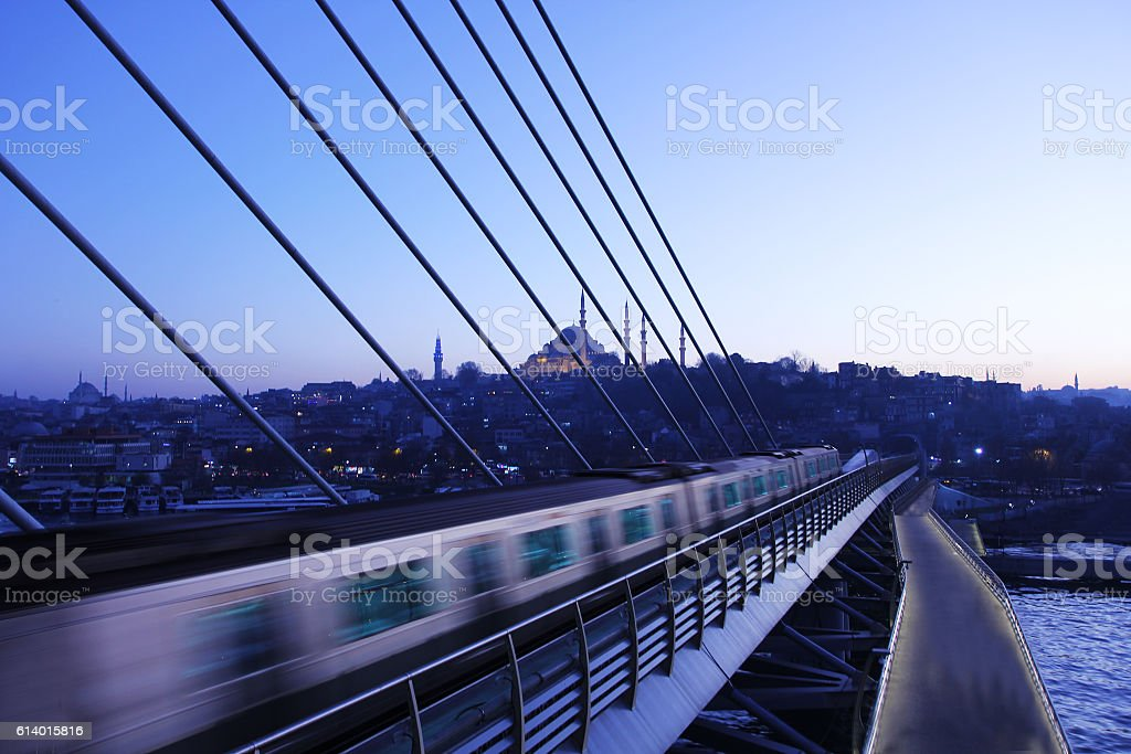 Halic metro bridge stock photo