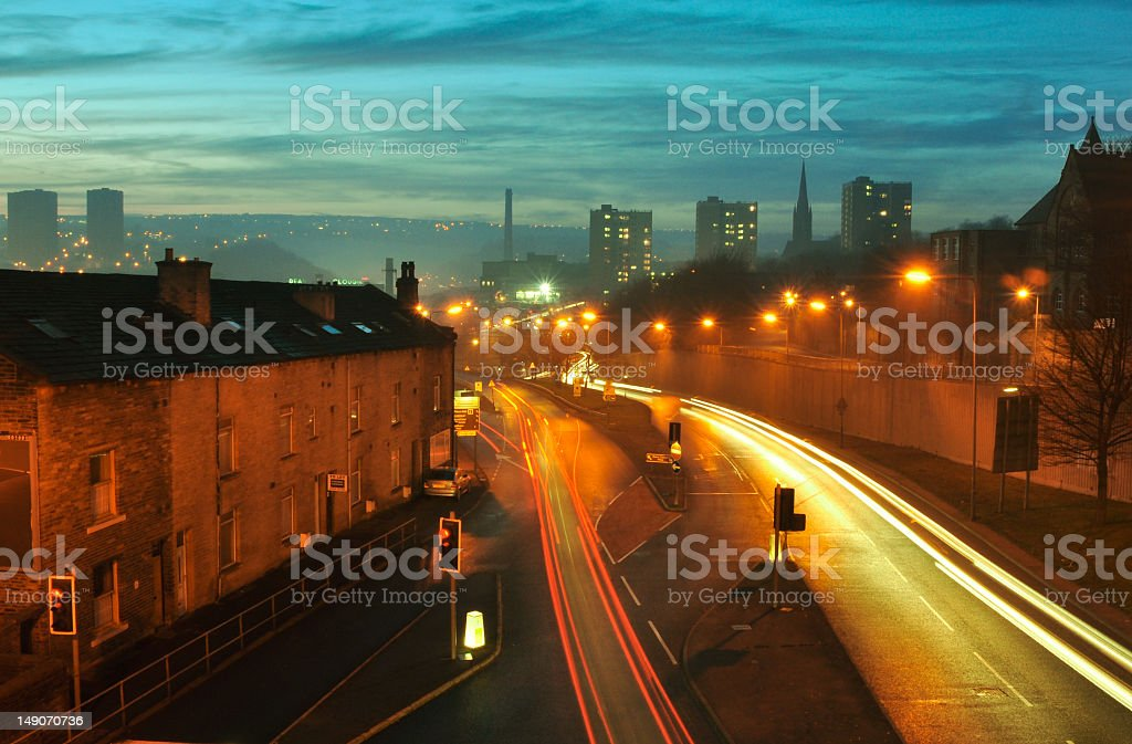 Halifax at Dusk, West Yorkshire, England stock photo