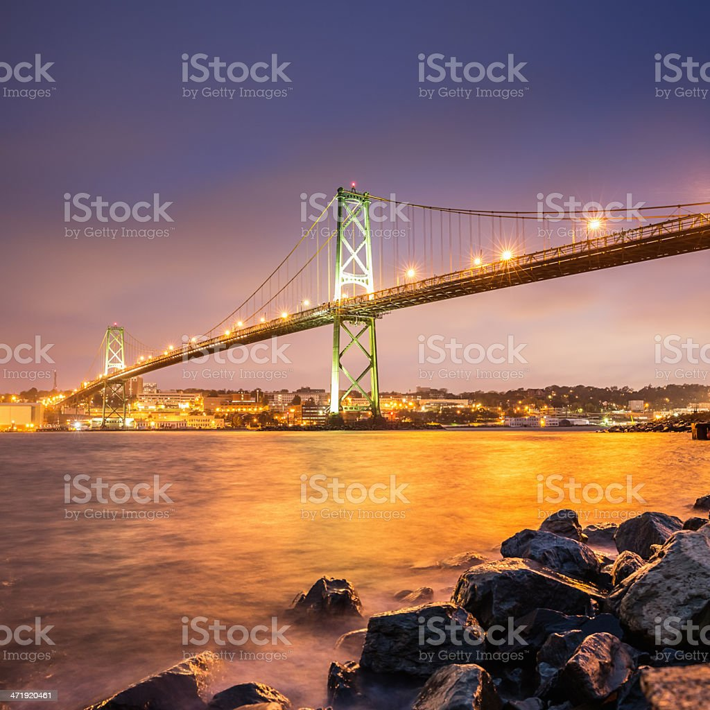 Halifax City Angus Macdonald Bridge at Night stock photo