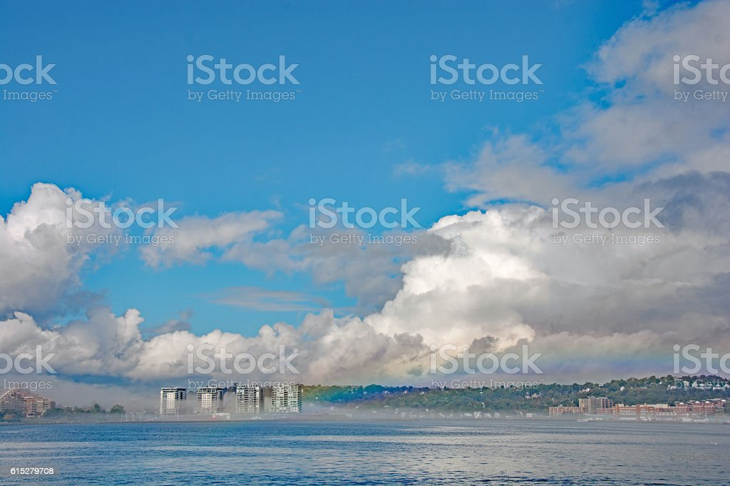 Halifax harbor after a small thunder storm- rainbow stock photo