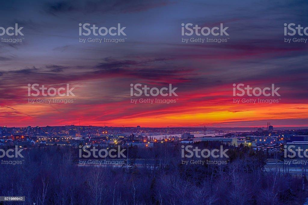 Halifax, Nova Scotia Sunset Glory stock photo