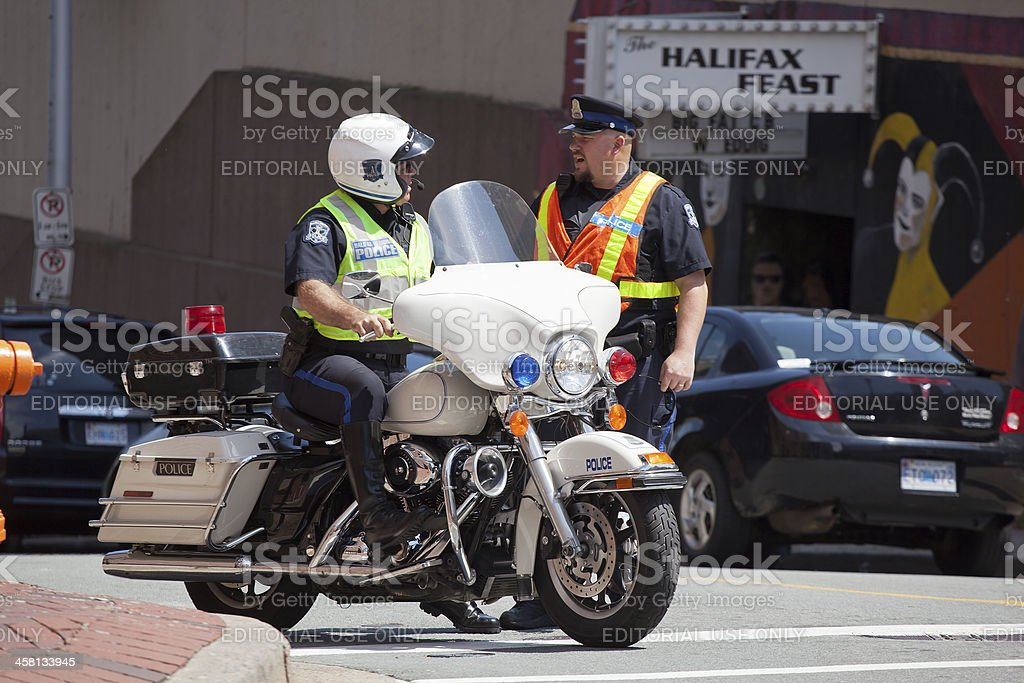 Halifax Regional Police Officers Chatting royalty-free stock photo
