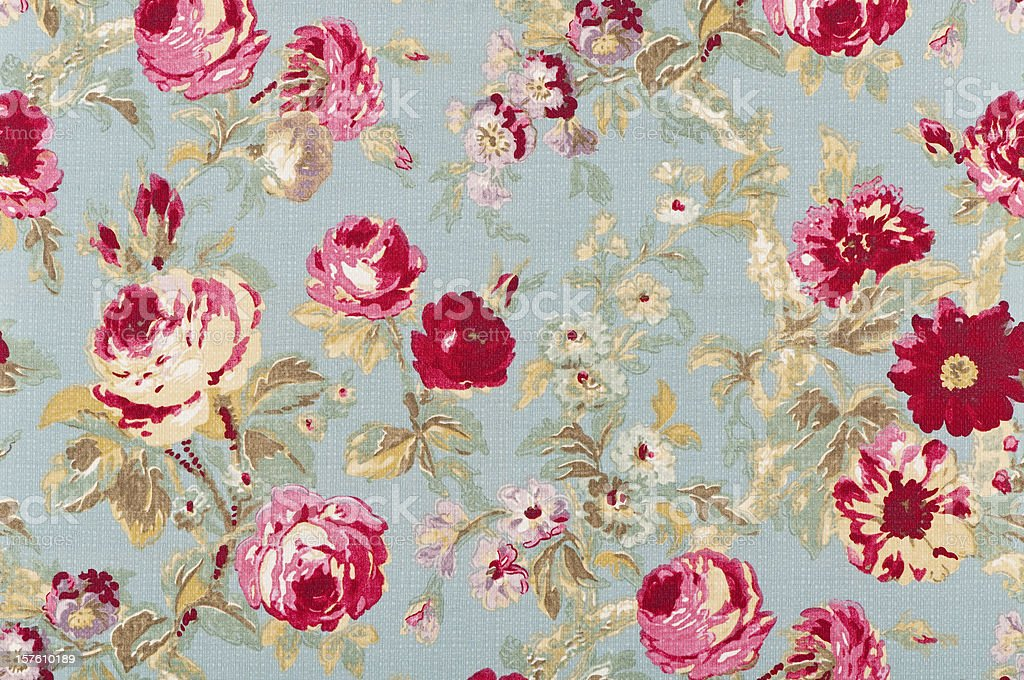 Halifax Rose Sage Close Up Antique Floral Fabric stock photo