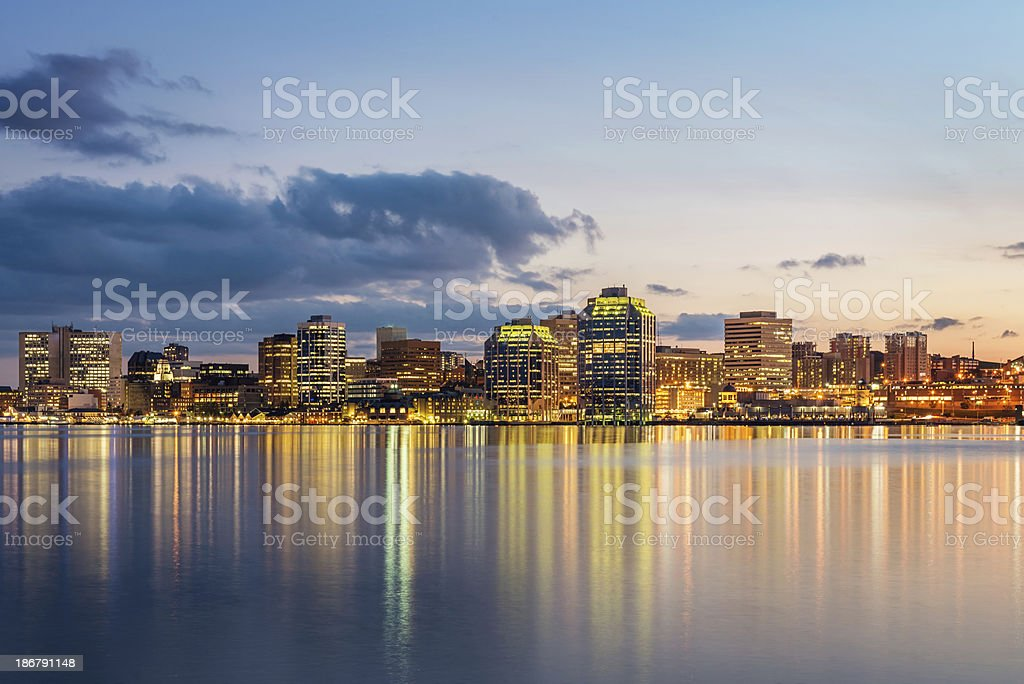 Halifax Skyline at Night, Nova Scotia, Canada stock photo