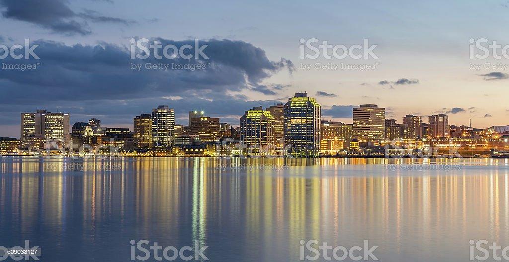 Halifax Skyline at Night, Panorama, Canada stock photo
