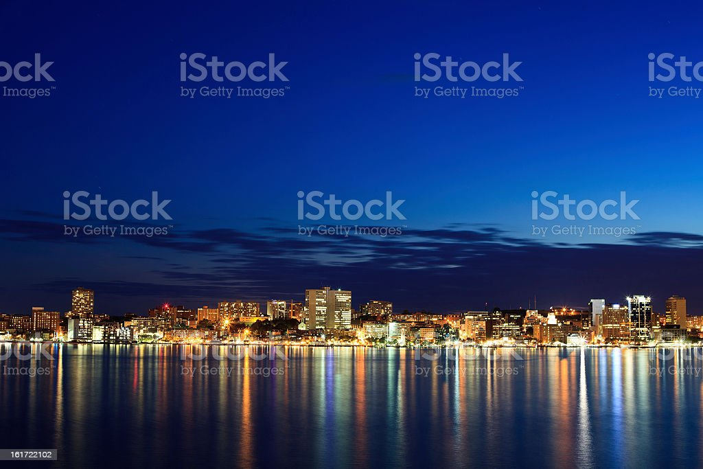 Halifax Waterfront Skyline at Twilight stock photo