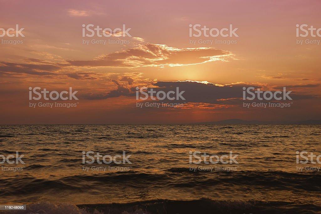 Halkidiki twilight stock photo