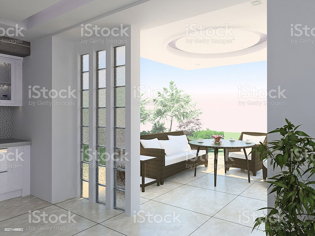 Hall and terrace arrangement, 3d render stock photo