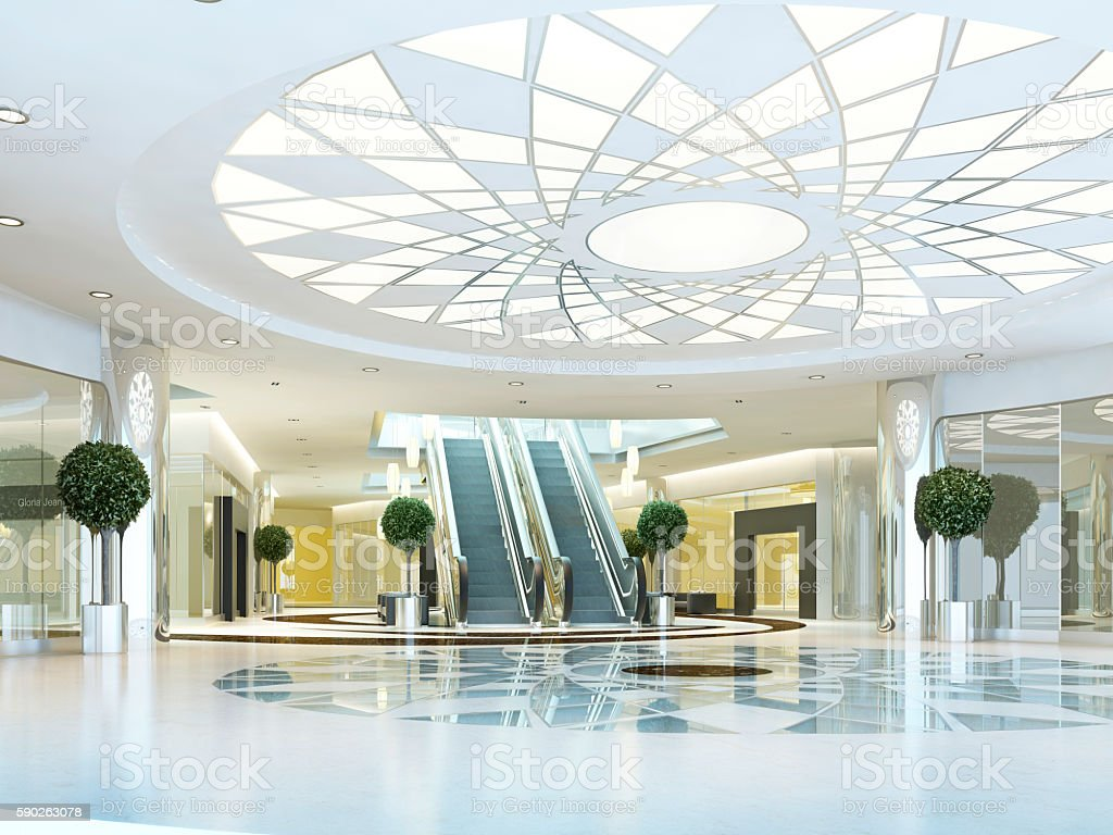 Hall in Megamall shopping center in a modern style. stock photo