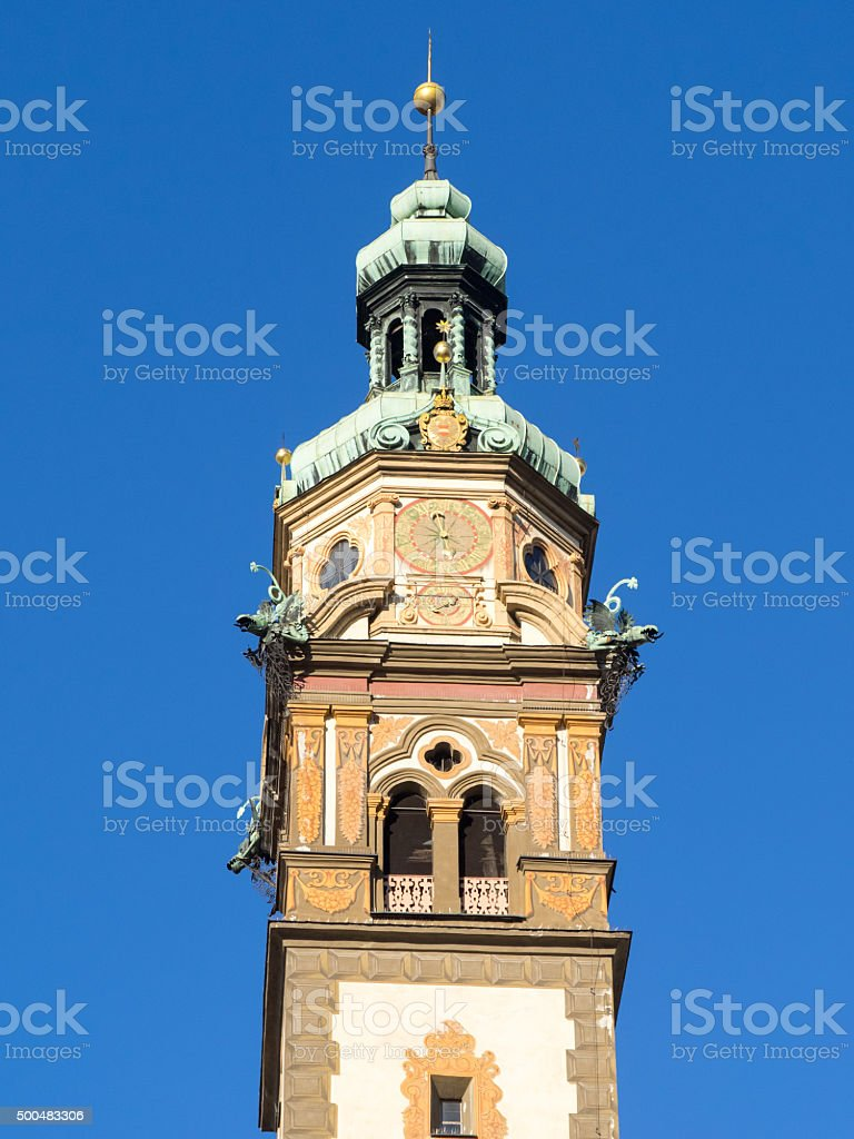 Hall in Tirol, Heart of Jesus church tower bell stock photo
