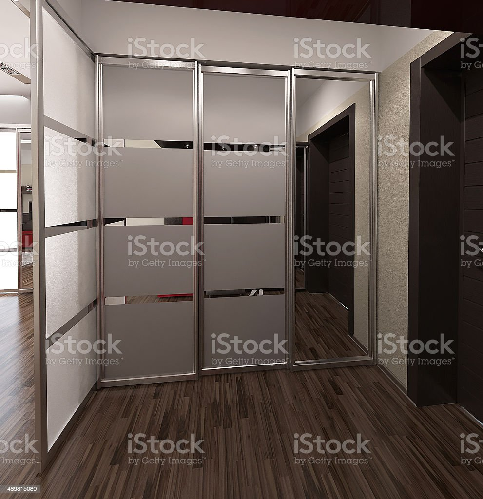 Hall modern style interior design, 3D render stock photo