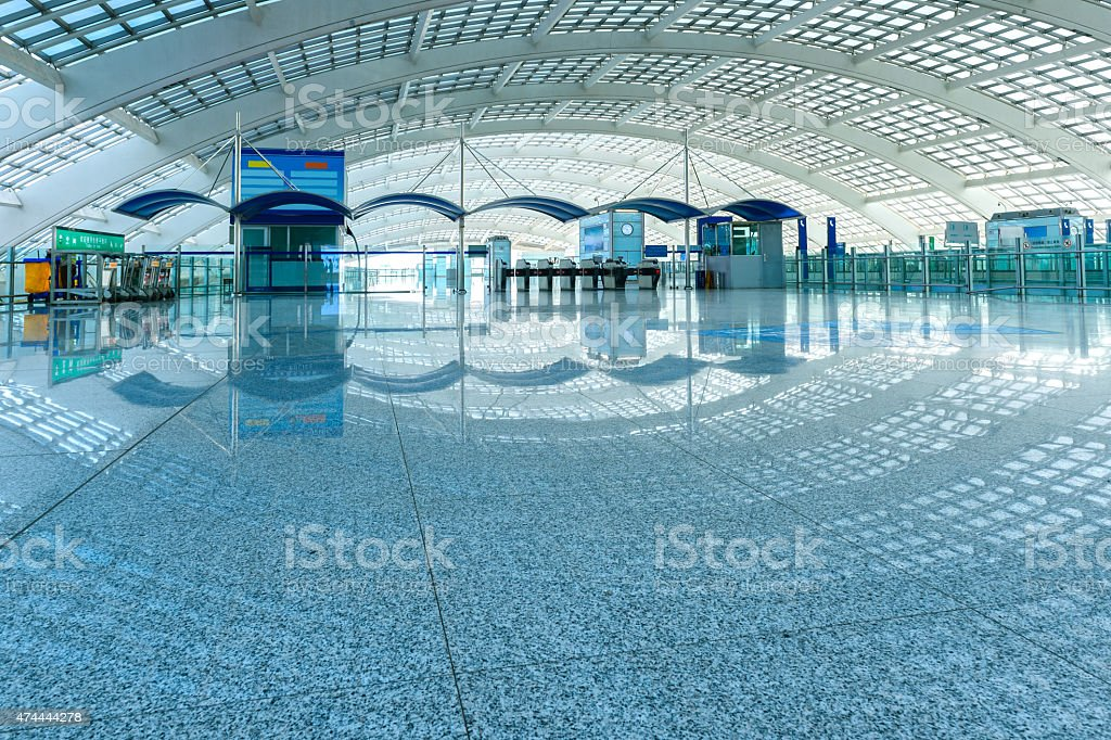 Hall of business airport building stock photo