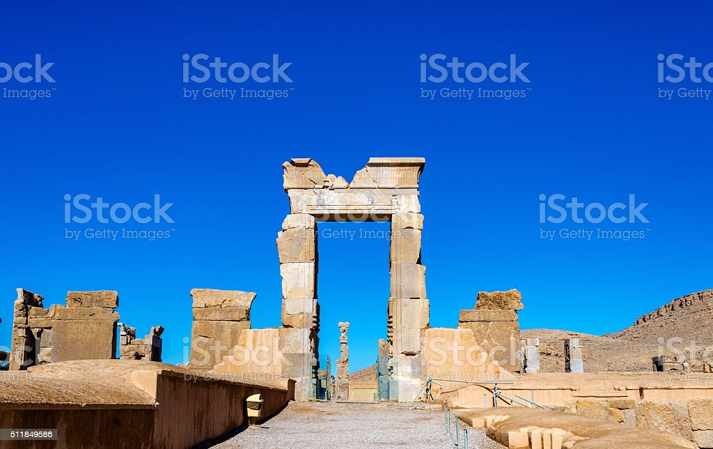 Hall of Hundred Columns in Persepolis, Iran stock photo