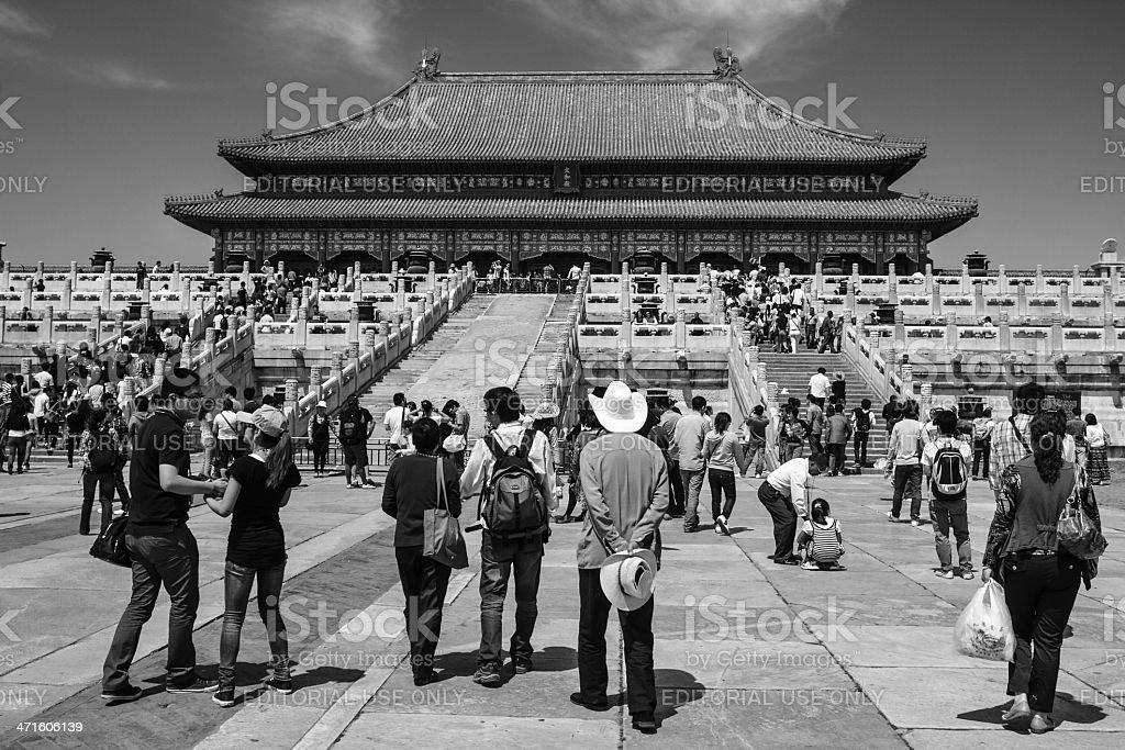 Hall of Supreme Harmony with Tourists stock photo