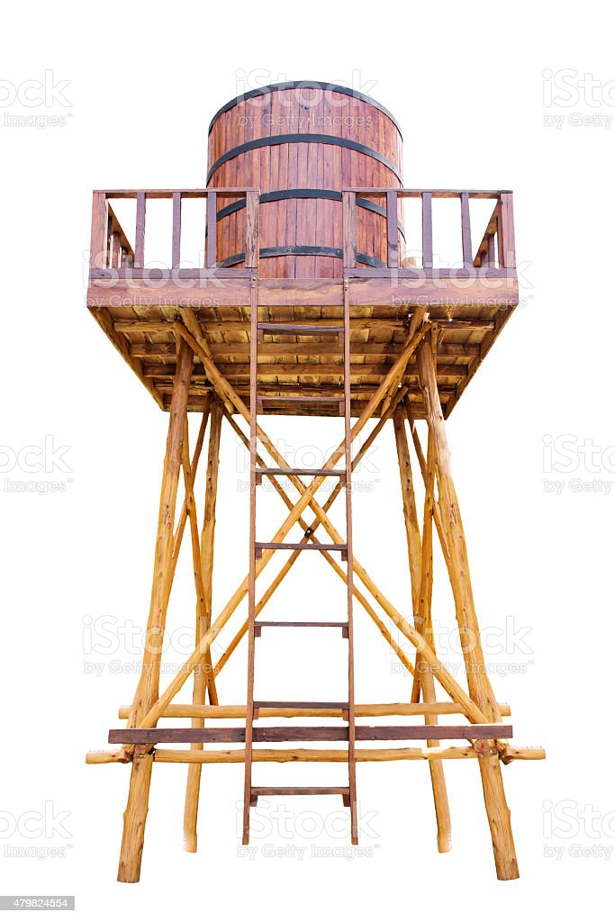 hall of tanks for water storage tower make with wood stock photo