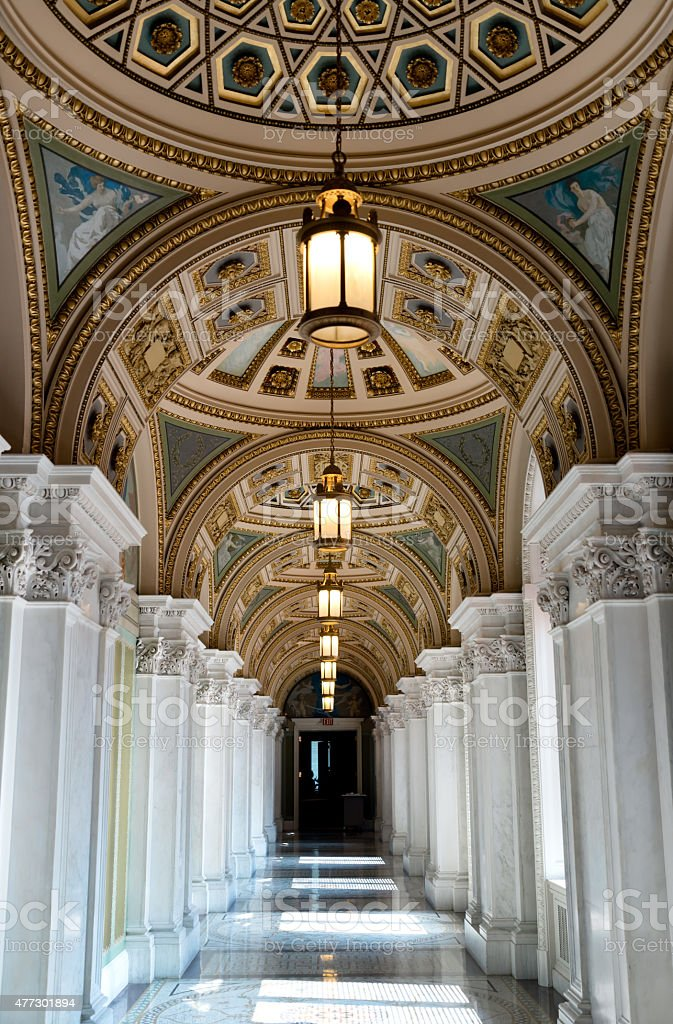 Hall of the Library of Congress stock photo