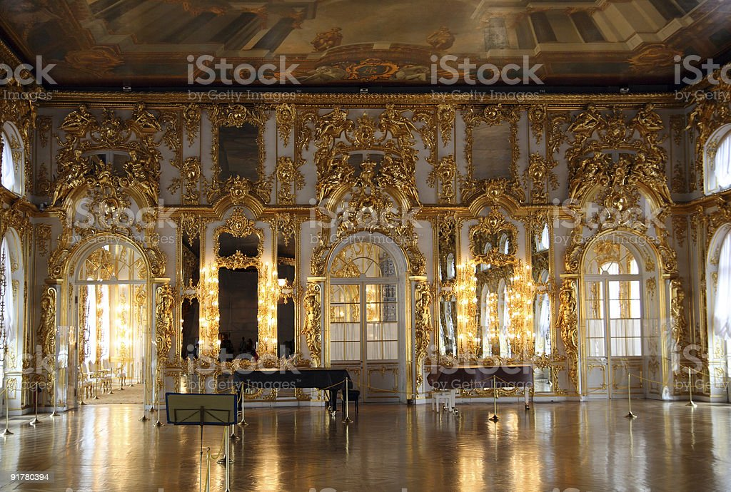 hall palace interior in Pushkin stock photo