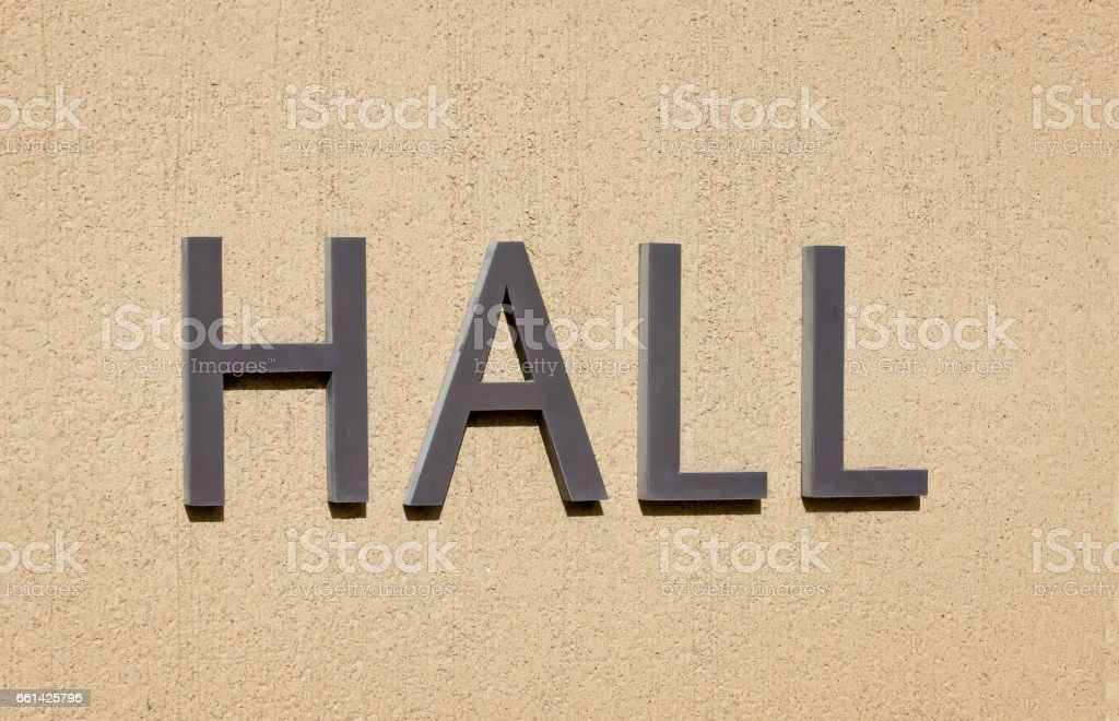 Hall Sign on Wall stock photo