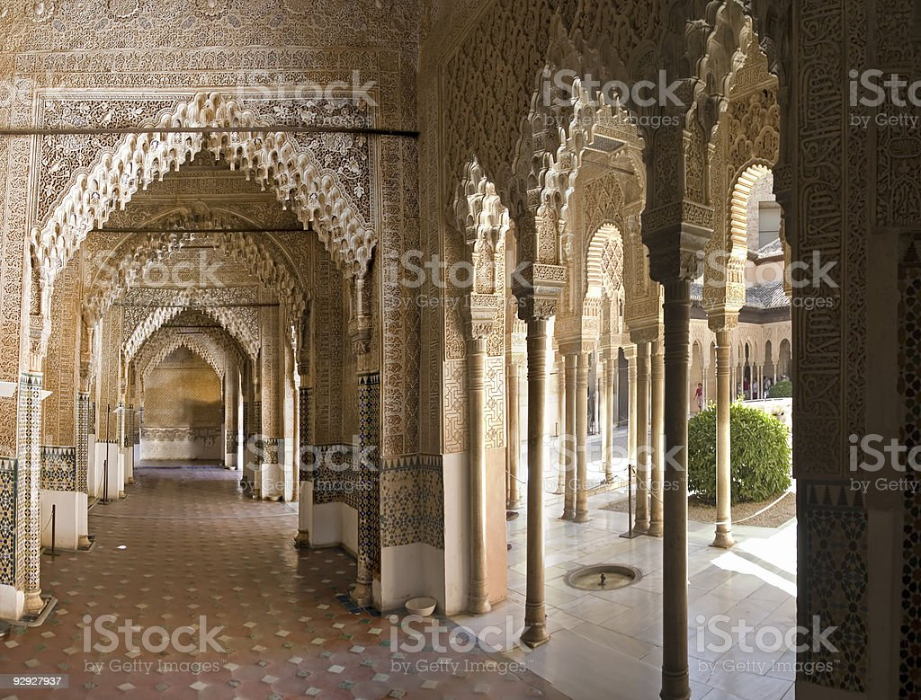 Hall Way in Alhambra stock photo