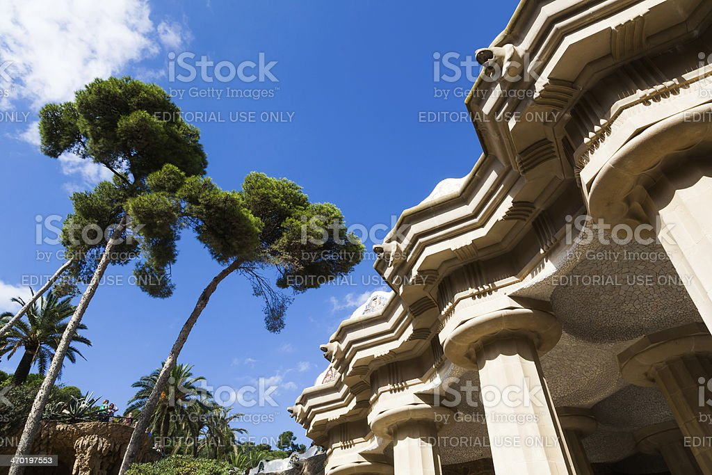 hall with columns in the Park Guell stock photo
