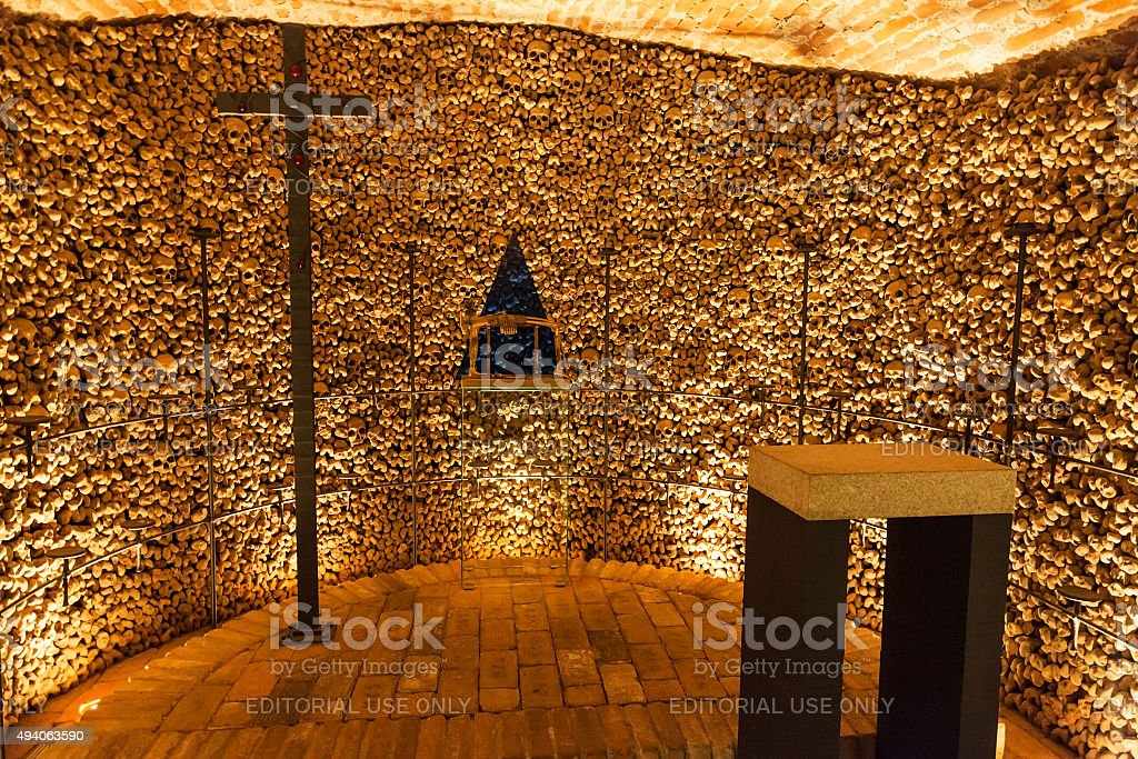 Hall with cross in Ossuary of St James Church Brno stock photo