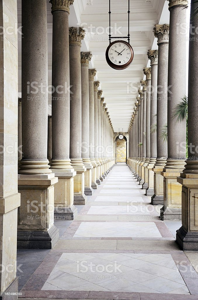 Hall with several pillars in Karlovy Vary stock photo