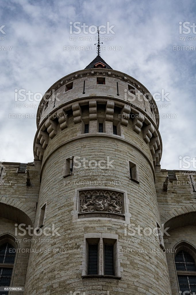 Halle Gate in Brussels on a cloudy day stock photo