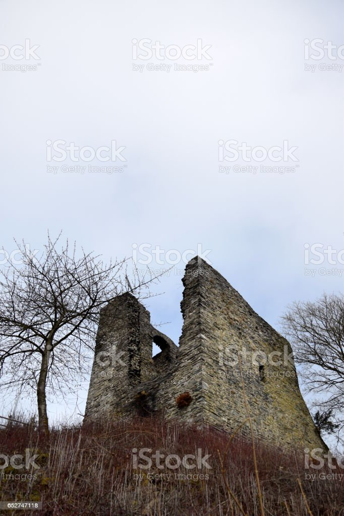 Haller ruins in Monschau, Germany. The fortification tower was used to defend the city stock photo