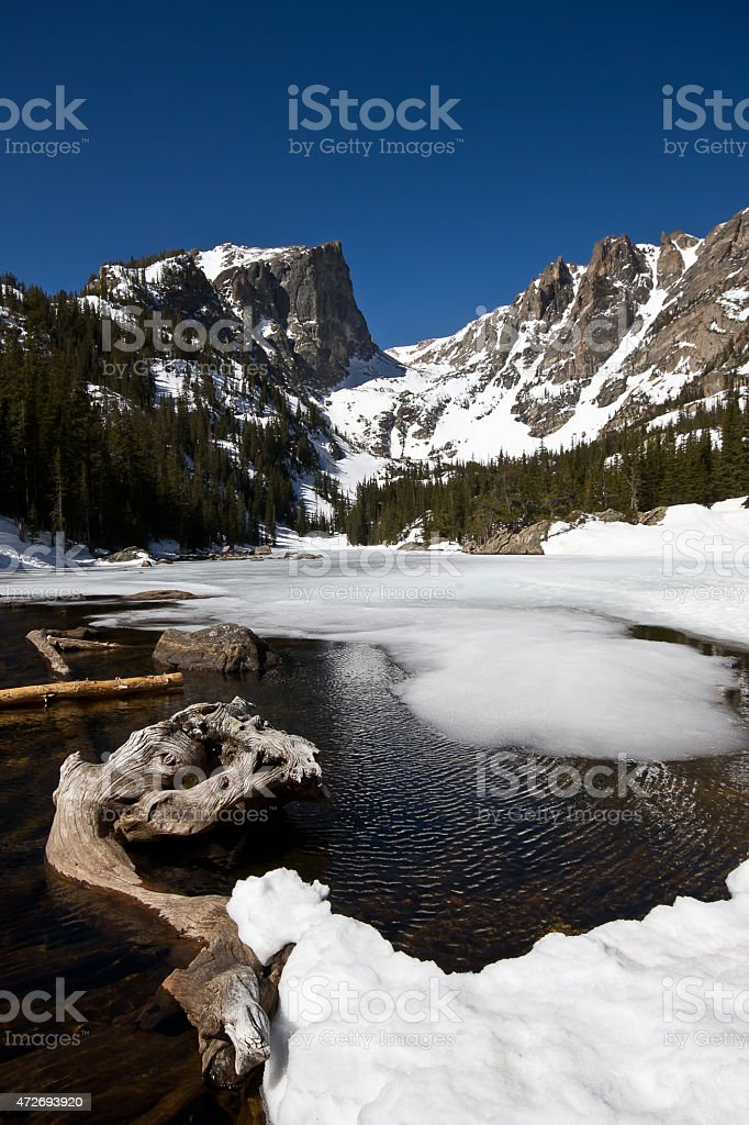 Hallet Peak and Dream Lake in Rocky Mountain national Park stock photo