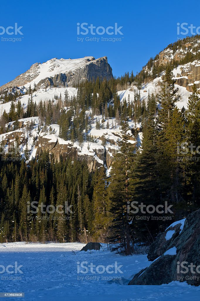 Hallet Peak in Rocky Mountain National Park in the Winter stock photo