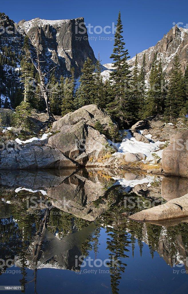 Hallet Peak Reflections in Dream Lake stock photo