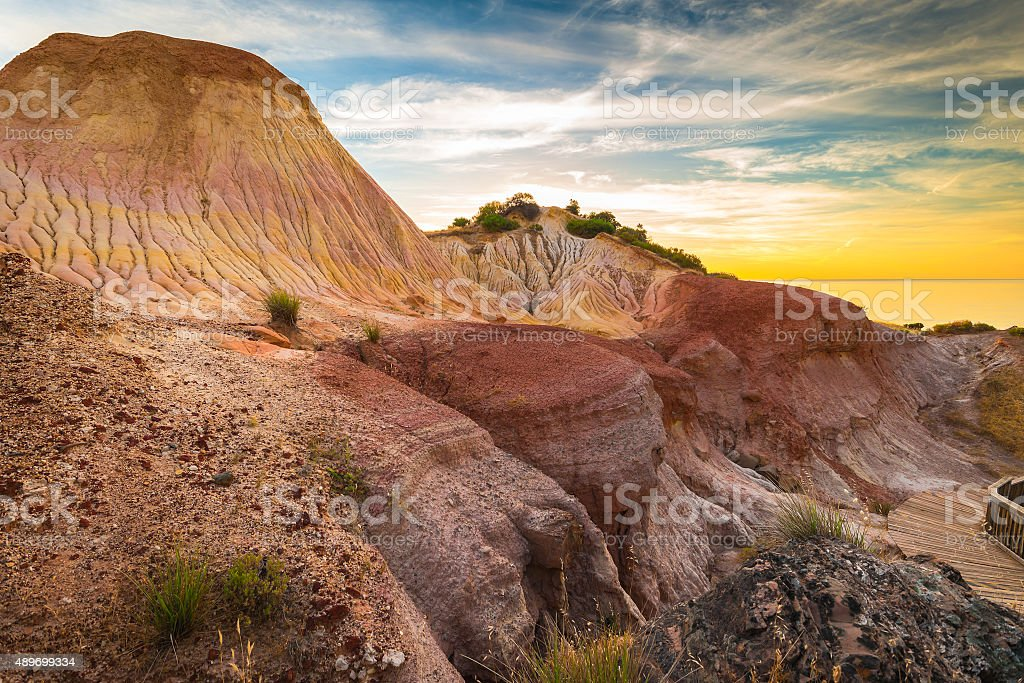 Hallett Cove landscape at sunset stock photo