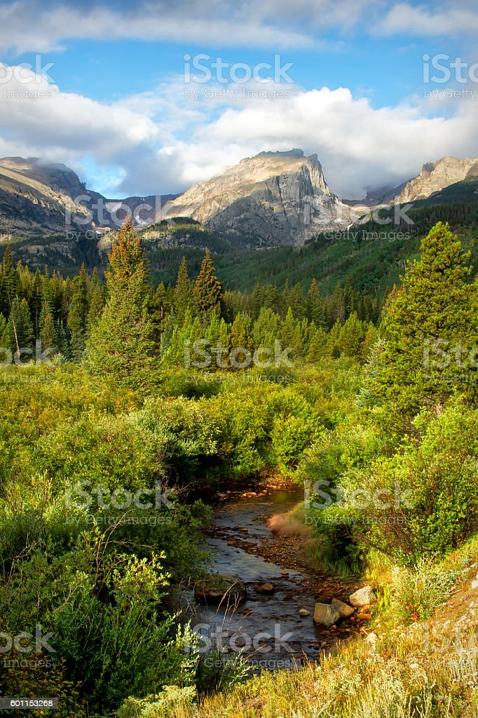 Hallett Peak and Storm Pass Trail on a summer Day stock photo