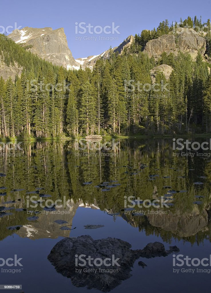 Hallett Peak From Nymph Lake, Rocky Mountain National Park, Colorado stock photo
