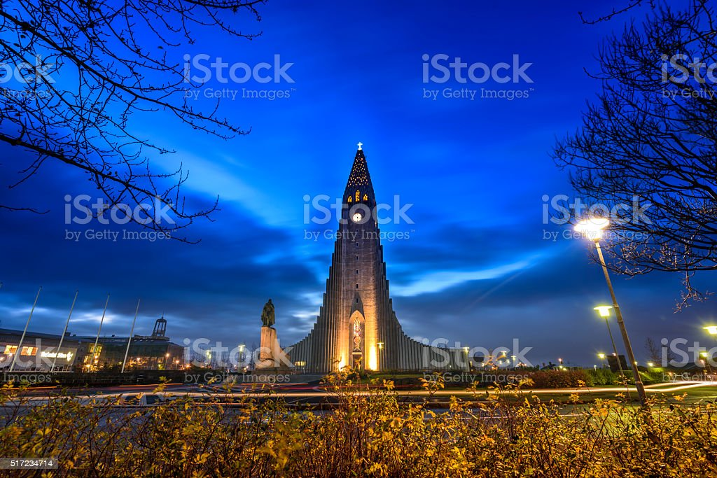 Hallgrimskirkja cathedral stock photo