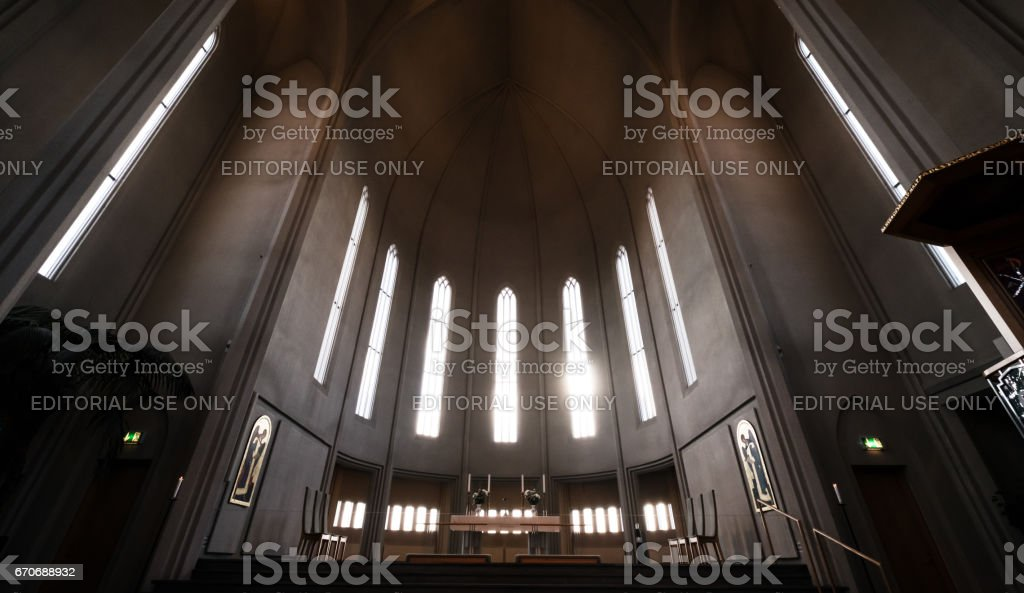 REYKJAVIK, ICELAND - 11 MAR - Hallgrimskirkja church interior, popular landmark in Reykjavik, Iceland on March 11, 2017 stock photo