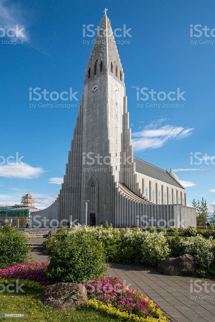 Hallgrimskirkja church, Reykjavik city, Iceland. stock photo