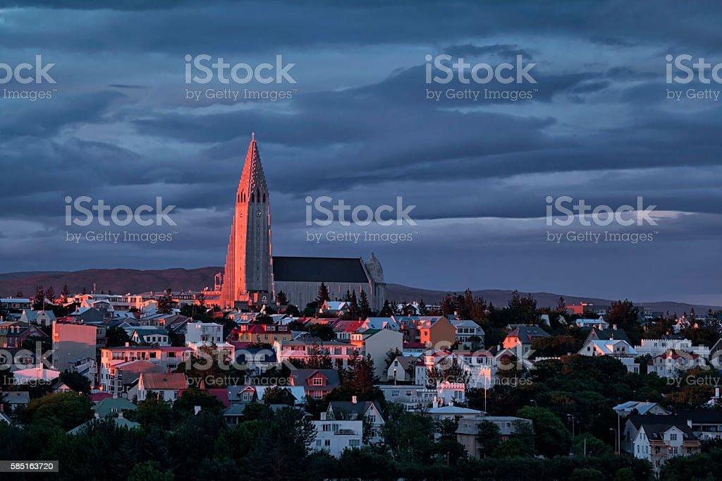 Hallgrimskirkja Church Tower Reykjavik Iceland stock photo